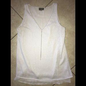 Crosby. Silver Neckless White Tank Top Size S